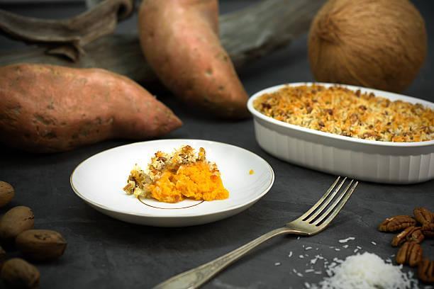 Porc rôti aux épices, gratin d'igname et patate douce