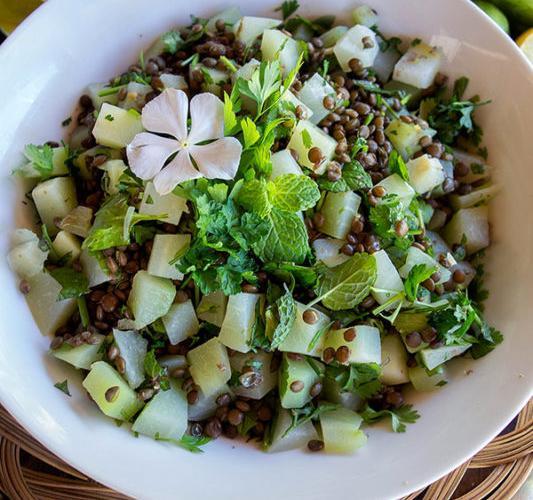 Salade de lentilles vertes aux christophines