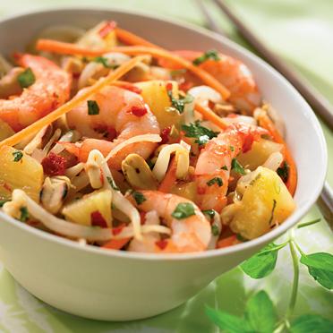 Salade exotique aux crevettes et à l'ananas