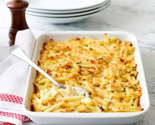 Gratin de macaroni au jambon fumé (gluten, lactose)