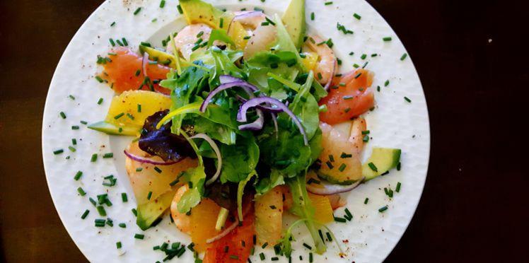 Salade de saumon mariné, aux agrumes (pamplemousse)