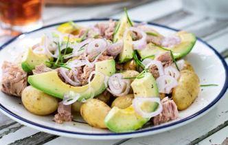 Salade de pommes de terre au thon façon niçoise (oeuf, moutarde)