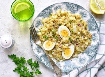 Salade de quinoa à l'oeuf et au fromage de brebis (lactose, œuf, moutarde)