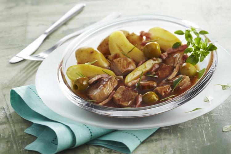 Sauté de porc aux olives et au citron