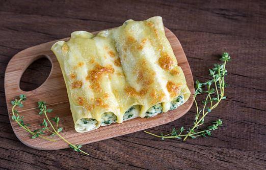 Cannellonis de saumon, épinards et ricotta (gluten, lactose)