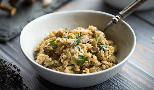Risotto aux champignons (lactose) Plat cuisiné au vin