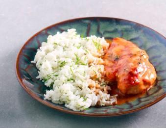 Escalope de poulet, riz et crème de mozzarella