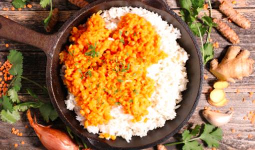 Curry de lentilles rouges aux aubergines