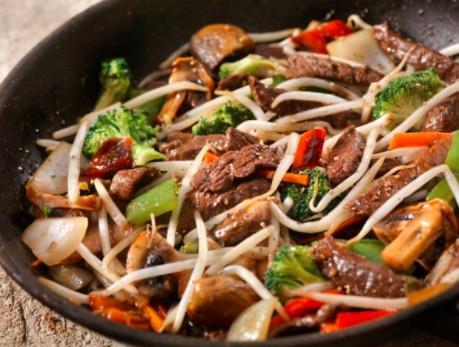 Wok au bœuf et champignons