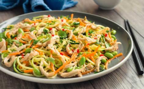 Salade de poulet et tagliatelles de légumes