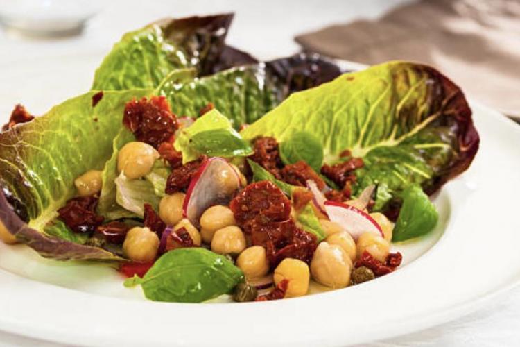 Salade poivrons pois chiches basilic