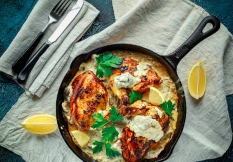 Poulet à la crème d'ail et gratin dauphinois