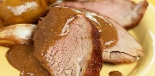 Longe de porc moutarde et pois cassés
