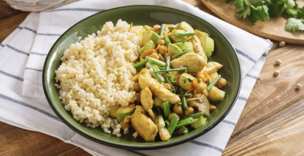 Boulgour de légumes verts à la coco