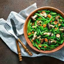 Salade de haricots verts et champignons au gingembre
