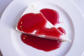 Gâteau yaourt et coulis de fraises