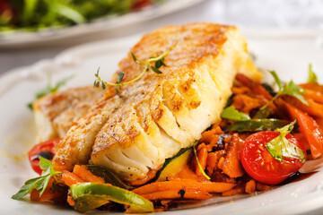 Fondue de poisson blanc aux légumes verts