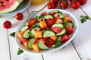 Salade melon concombre