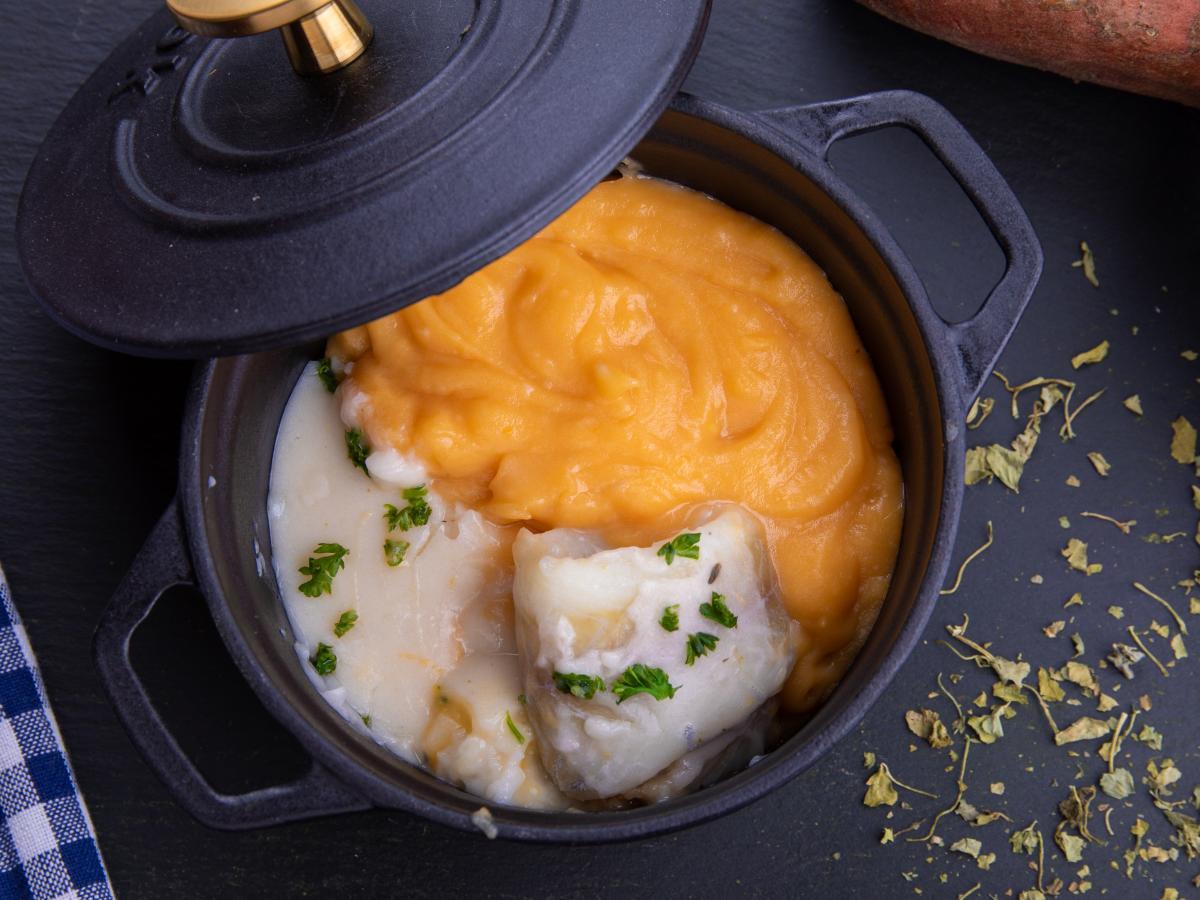 Poisson blanc et patate douce en crème citronnée