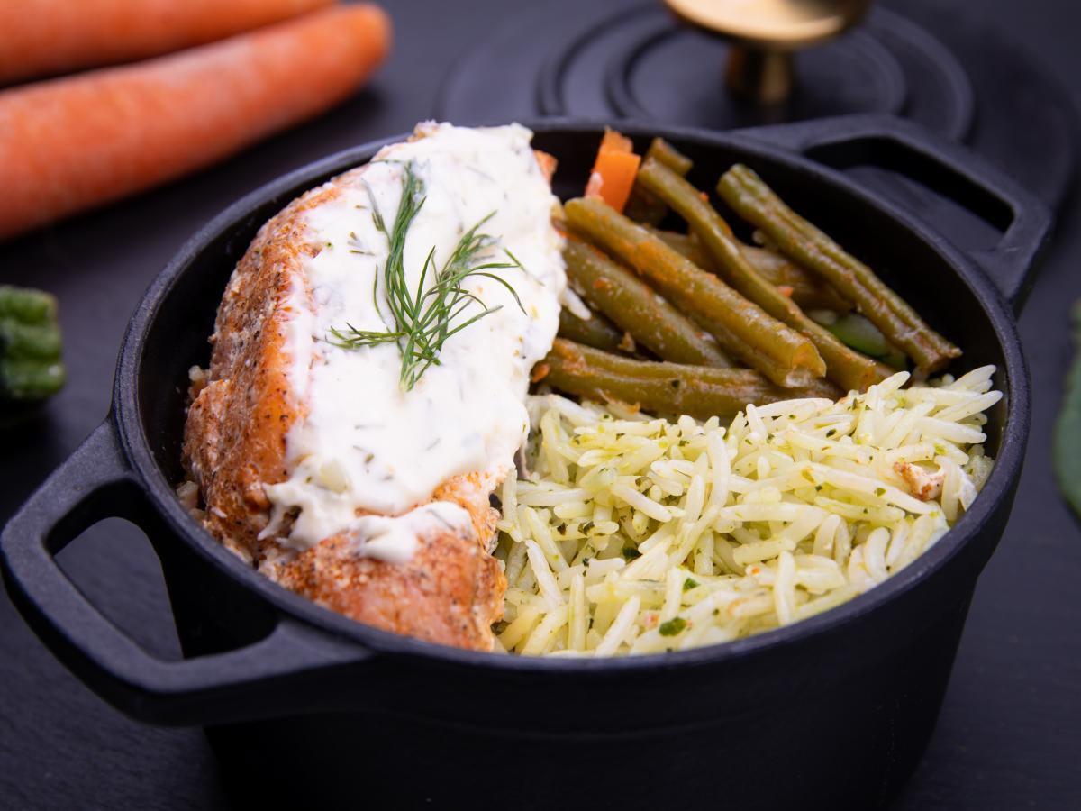 Saumon grillé et verdures citronnées