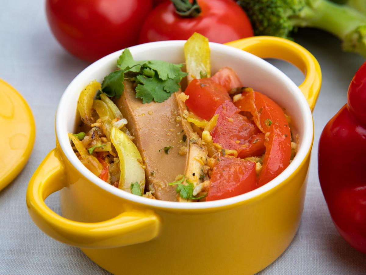Calamars et légumes poivre et ail
