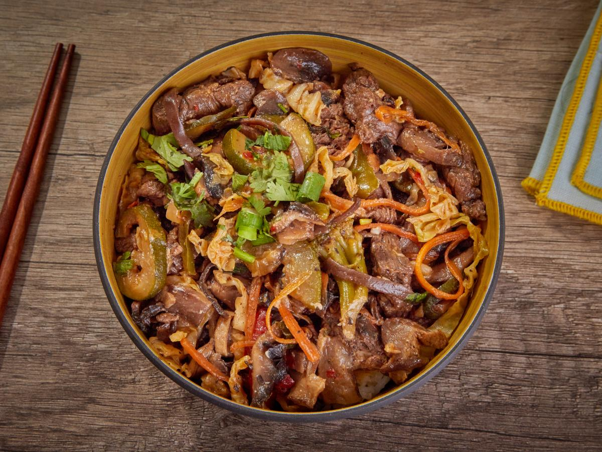 Wok au bœuf et 3 champignons
