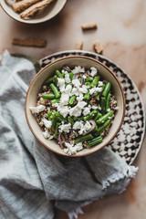 Salade de haricots verts mozzarella quinoa